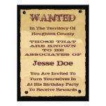 Wanted Poster Invitations to Western Themed Party