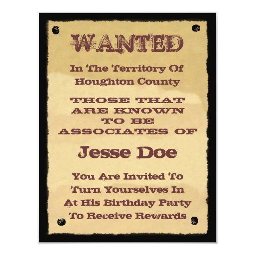 Wanted Poster Invitations to Western Themed Party 11 Cm X 14 Cm Invitation Card