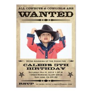Wanted Poster Kids Party 13 Cm X 18 Cm Invitation Card