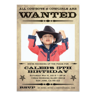 Wanted Poster Kids Party - small 11 Cm X 16 Cm Invitation Card