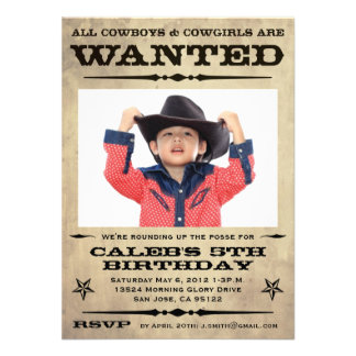 Wanted Poster Kids Party - small Custom Invite