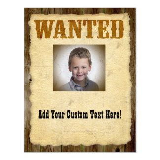 Wanted Poster Old-Time Photo 11 Cm X 14 Cm Invitation Card