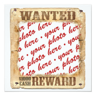 """WANTED Poster Photo Frame Template 5.25"""" Square Invitation Card"""