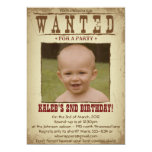 WANTED POSTER Western Themed Party Invitation 13 Cm X 18 Cm Invitation Card