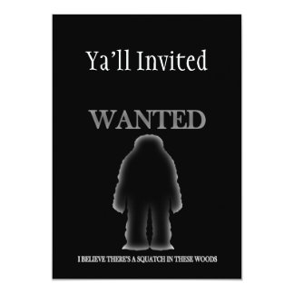 Wanted Sasquatch In Woods Shadow Effect 13 Cm X 18 Cm Invitation Card