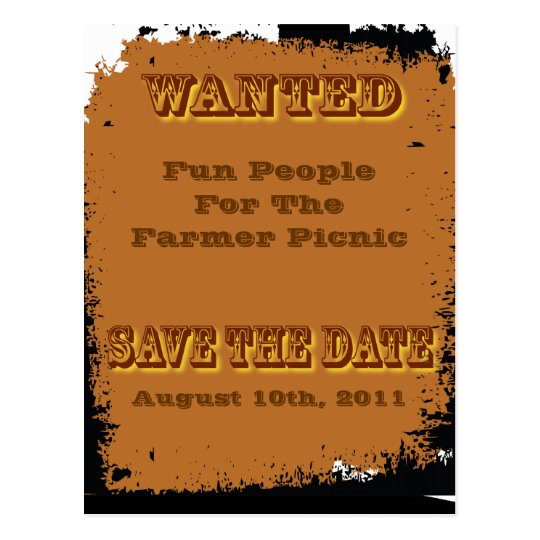 wanted save the date postcard