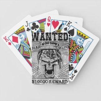 Wanted Skull King Skeleton Bicycle Playing Cards