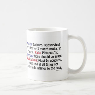 Wanted: Taciturn, subservient myrmidon Coffee Mug
