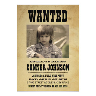 WANTED Vintage Birthday Party Invitation