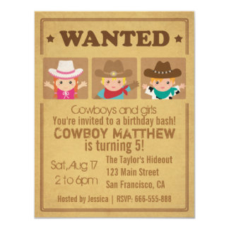 Wanted Vintage Poster Cowboys and girls Party 11 Cm X 14 Cm Invitation Card