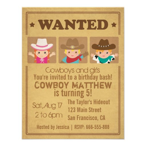 Wanted Vintage Poster Cowboys and girls Party Custom Invite