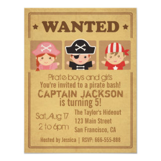 Wanted Vintage Poster Pirates Boys and Girls Party 11 Cm X 14 Cm Invitation Card