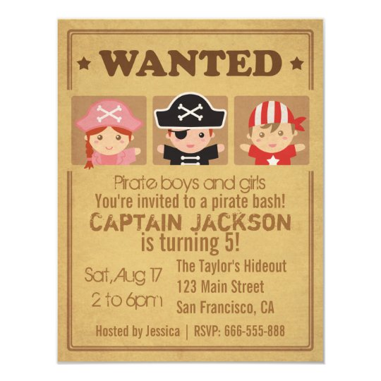 Wanted vintage poster pirates boys and girls party card for Wanted pirate poster template