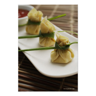 wanton dumplings with white chili sauce poster