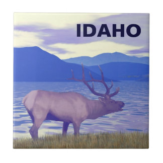 Wapiti (Elk) By The Lake Small Square Tile
