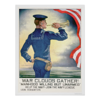 War Clouds Gather!  Join the Navy League (US02185) Poster