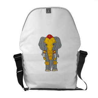 War Elephant Drawing Courier Bags