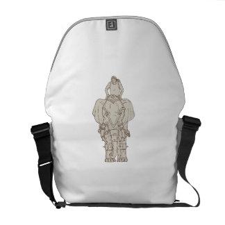 War Elephant Mahout Rider Drawing Messenger Bag