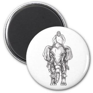 War Elephant Mahout Rider Tattoo Magnet