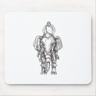 War Elephant Mahout Rider Tattoo Mouse Pad