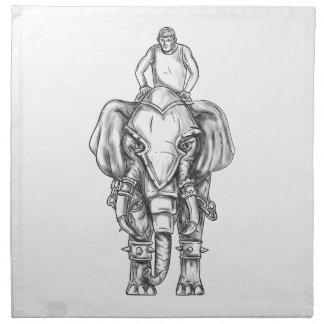 War Elephant Mahout Rider Tattoo Napkin