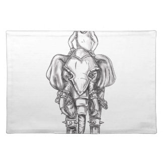 War Elephant Mahout Rider Tattoo Placemat