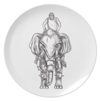 War Elephant Mahout Rider Tattoo Plate