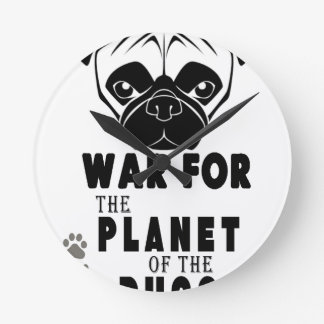 war for planet of pugs cool dog round clock