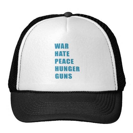war hate peace hunger guns hat