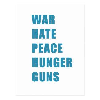 war hate peace hunger guns postcard