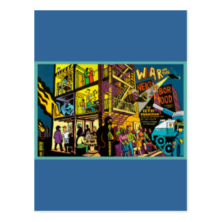 War in the Neighborhood Cartoon Art Postcard