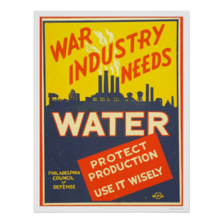 War Industry Water WWII 1943 WPA Poster