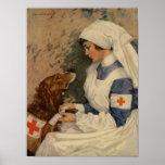 War Nurse with Golden Retriever 1917 Poster