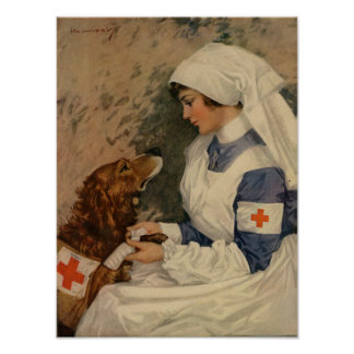 War Nurse with Golden Retriever 1917 WW1 Poster