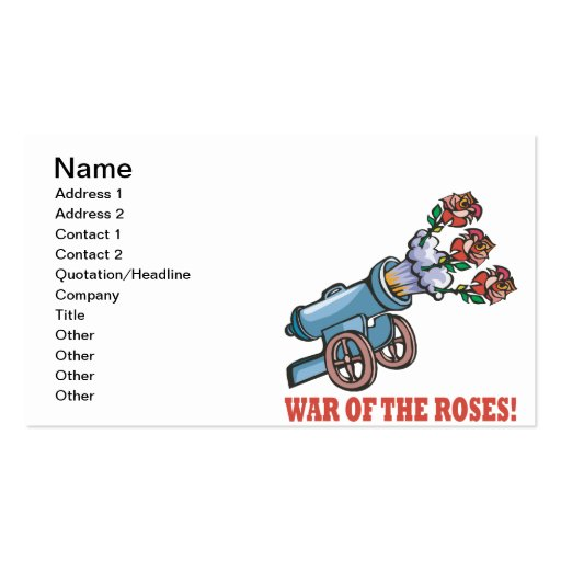 War Of The Roses Business Cards