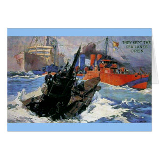 War Sea Ship Submarine poster Card