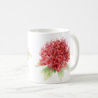 Waratah Protea red flower watercolor art mug