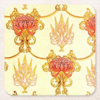 Waratah Wall Paper Pattern Square Paper Coaster