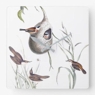 Warbler Birds Wildlife Animals Reeds Wall Clock