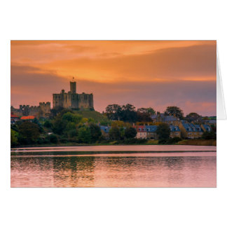 Warkworth Village and Castle at sunset Card