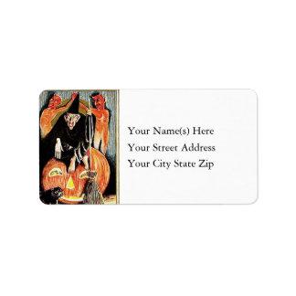 Warlock Devils and Pumpkins Vintage Address Label