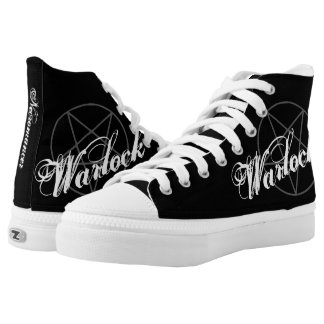 Warlock Necromancer Pentagram Black Gothic Witch High Tops