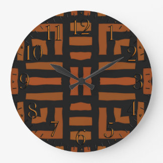 Warm African Tribal Artwork Large Clock