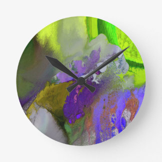 warm and cold colors splash round clock