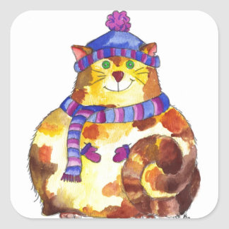Warm and Cuddly Kitty Cat Kitten Square Sticker