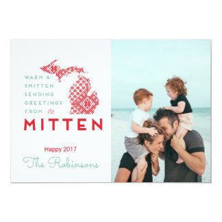 Warm and Smitten Greetings from the Mitten MI Card