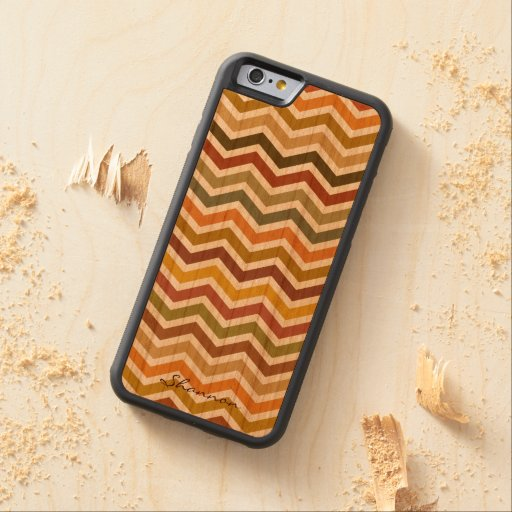 Warm Autumn Colors Wavy Stripes Wood iPhone 6 case Carved® Cherry iPhone 6 Bumper Case