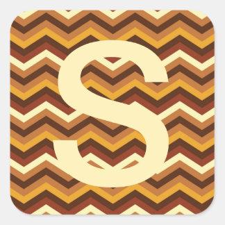 Warm Autumn Retro Chevron Personalized Square Sticker