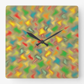 Warm Brush Strokes Square Wall Clock