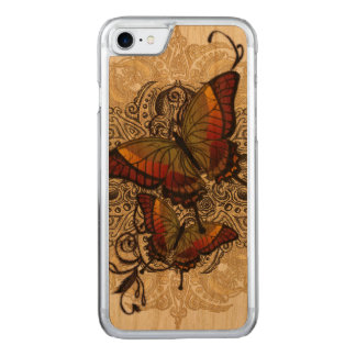 Warm Butterfly Delight on Genuine Hardwood Cherry Carved iPhone 7 Case